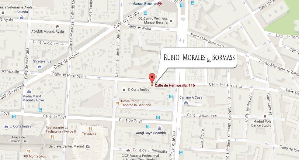 Mapa de localización de RMB ABOGADOS en calle Hermosilla 116, Madrid
