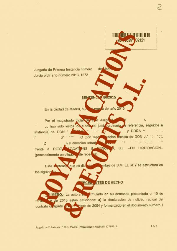 Imagen de la sentencia contra ROYAL VACATIONS & RESORTS S.L.