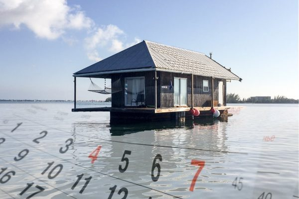 Isla con casa en una semana flotante